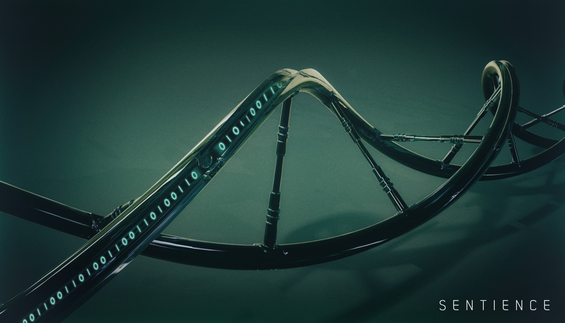 DNA strand infused with binary . (3d)