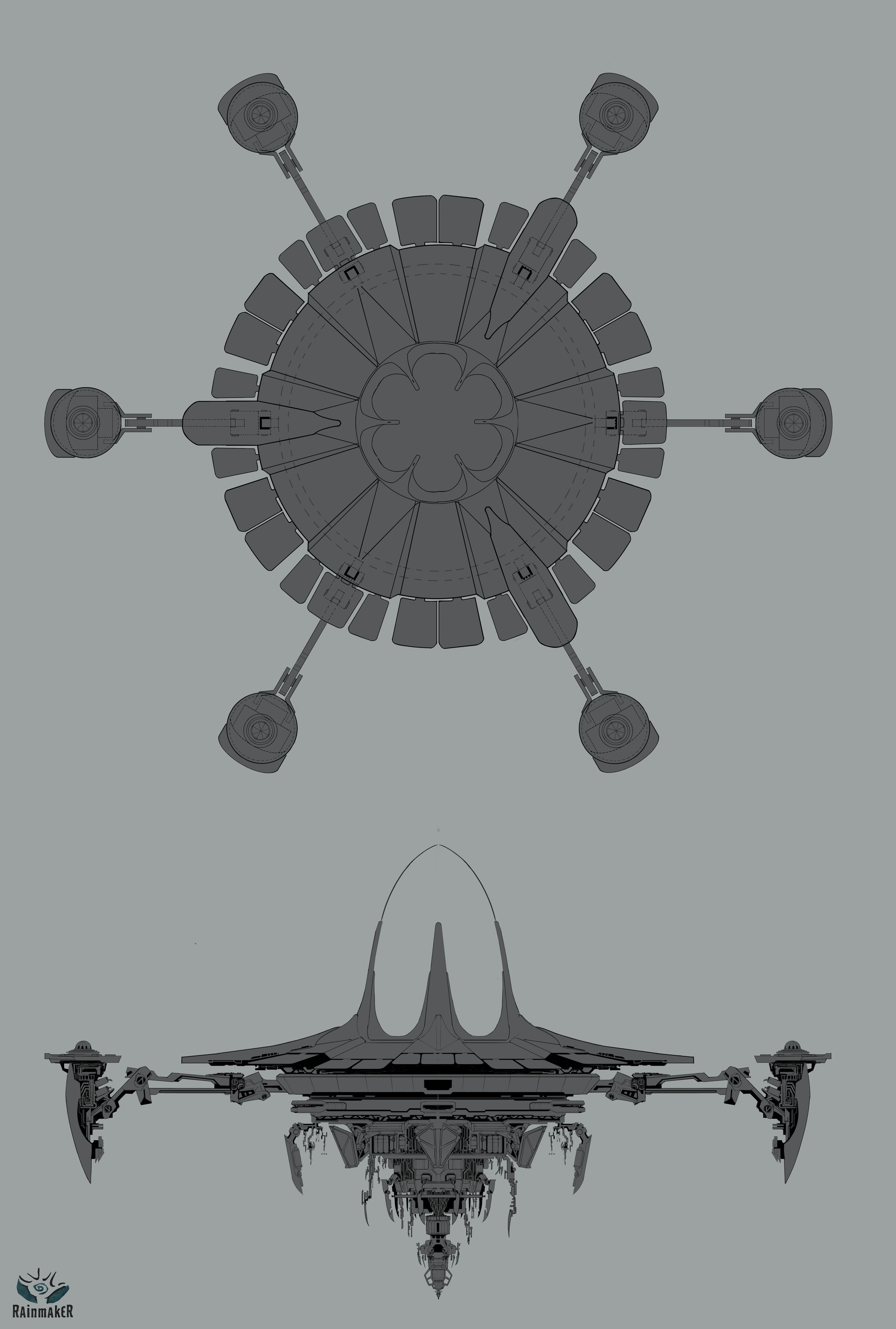 Early layout of the deplanetizer ship. ortho views