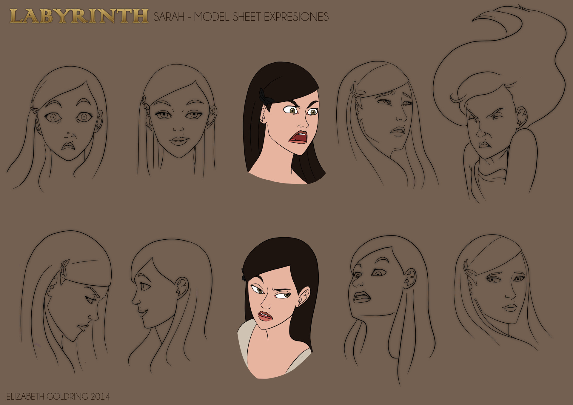 Elizabeth goldring sarah expression sheet