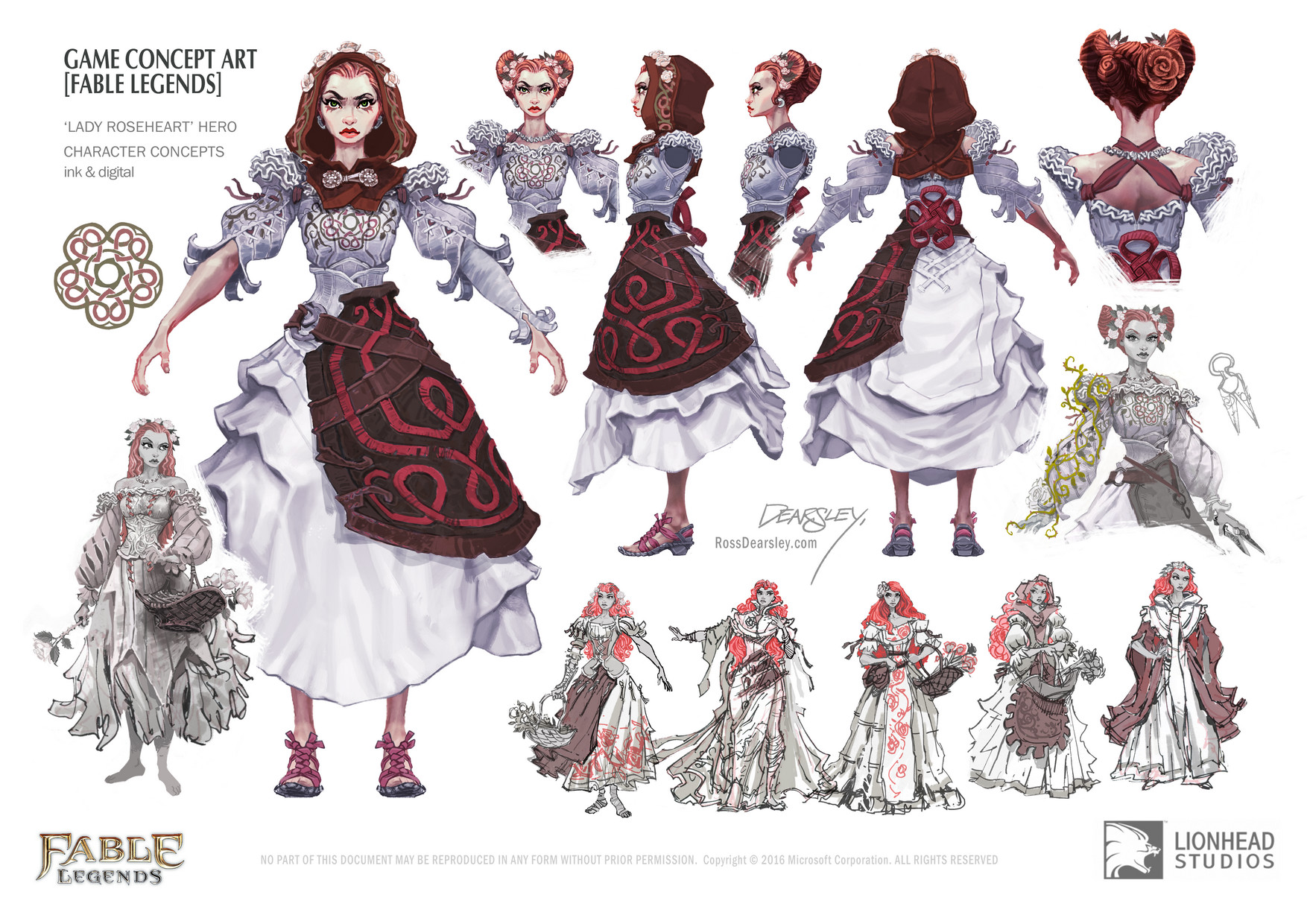 Ross Dearsley Fable Legends Lady Roseheart Hero Character - Character design document