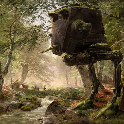Abandoned AT-ST in the Forest