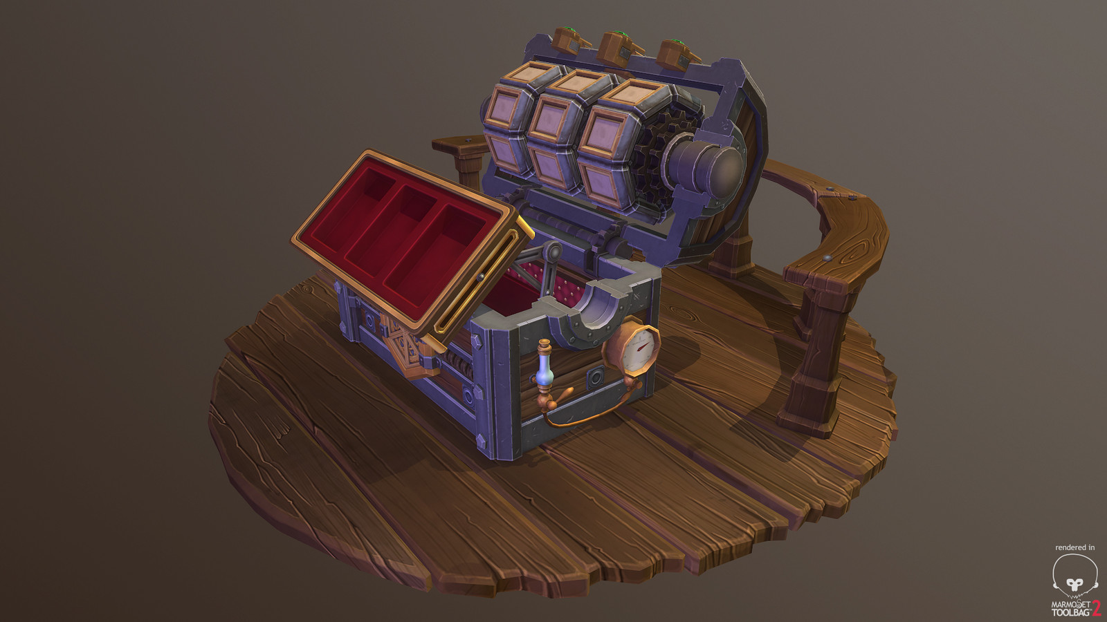 Uber Chest - Stage Three - Inner tray animates up and out to present the player with their rewards!!