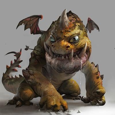 Ignacio bazan lazcano orange dragon illustration