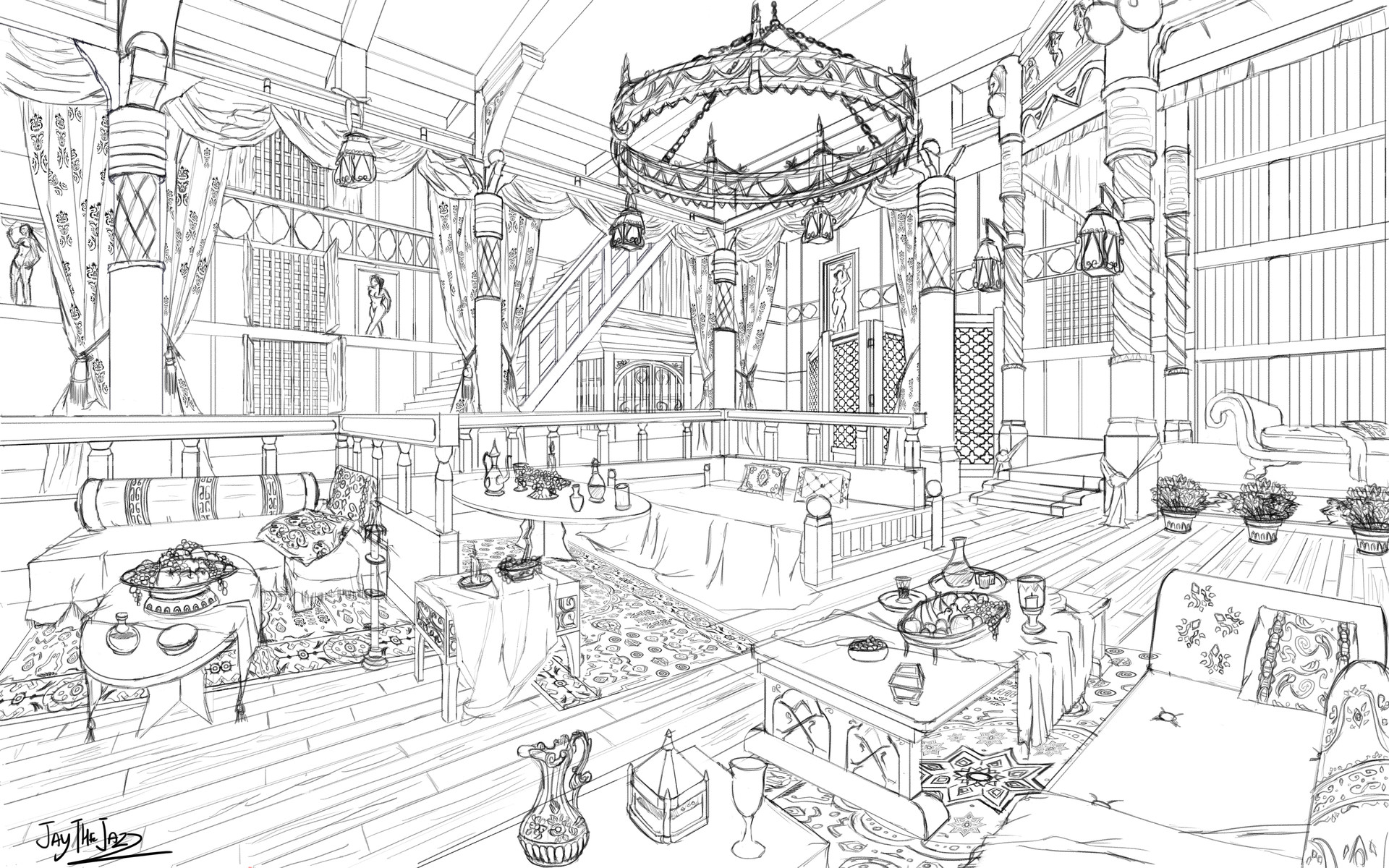Artstation 2 Point Perspective Interior Design Medieval Brothel