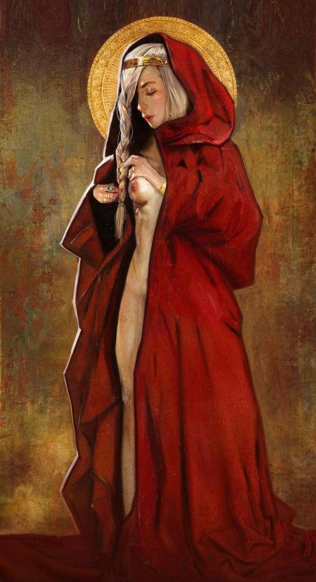 white girl in red