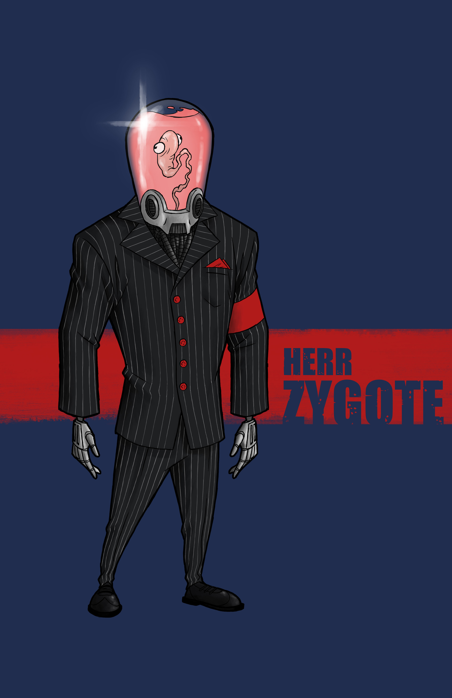 An abortion, literally. Heir Zygote is an undeveloped humanoid encased in a highly advanced prosthetic frame. He is the CEO of Embryon Cybernetic Industries and commands great wealth and power in world of the future.