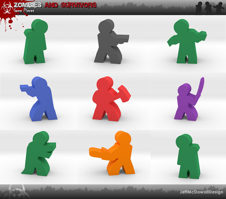 Jeff mcdowall zombies and survivor meeples art