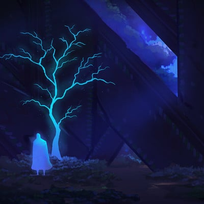 Travis lacey may sketch a day glowing tree concept art indie travis lacey ravenseyestudios