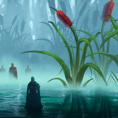 Travis lacey maysketchaday 11 art concept swamp cat tails digital painting travis lacey ravenseyestudios