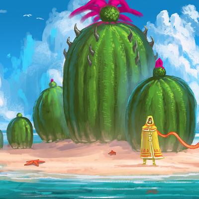 Travis lacey cactus island sketchadaymay painting concept art indie art ravenseyestudios