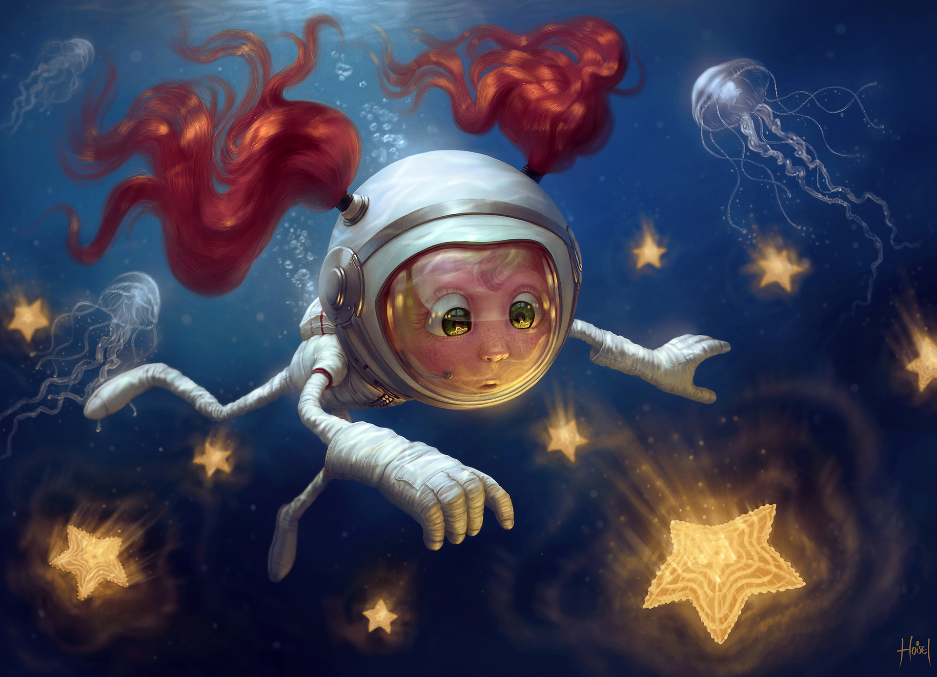 astronaut reaching for the stars - HD1366×966