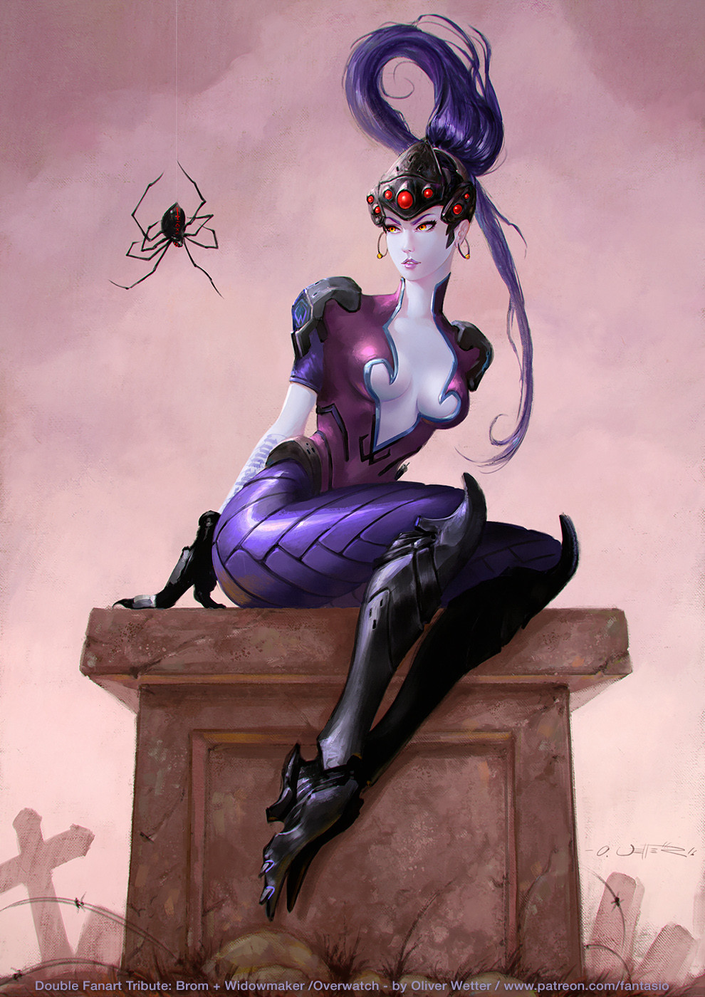 Miss 'Widowmaker' Muffet - Overwatch + Brom Double Fanart