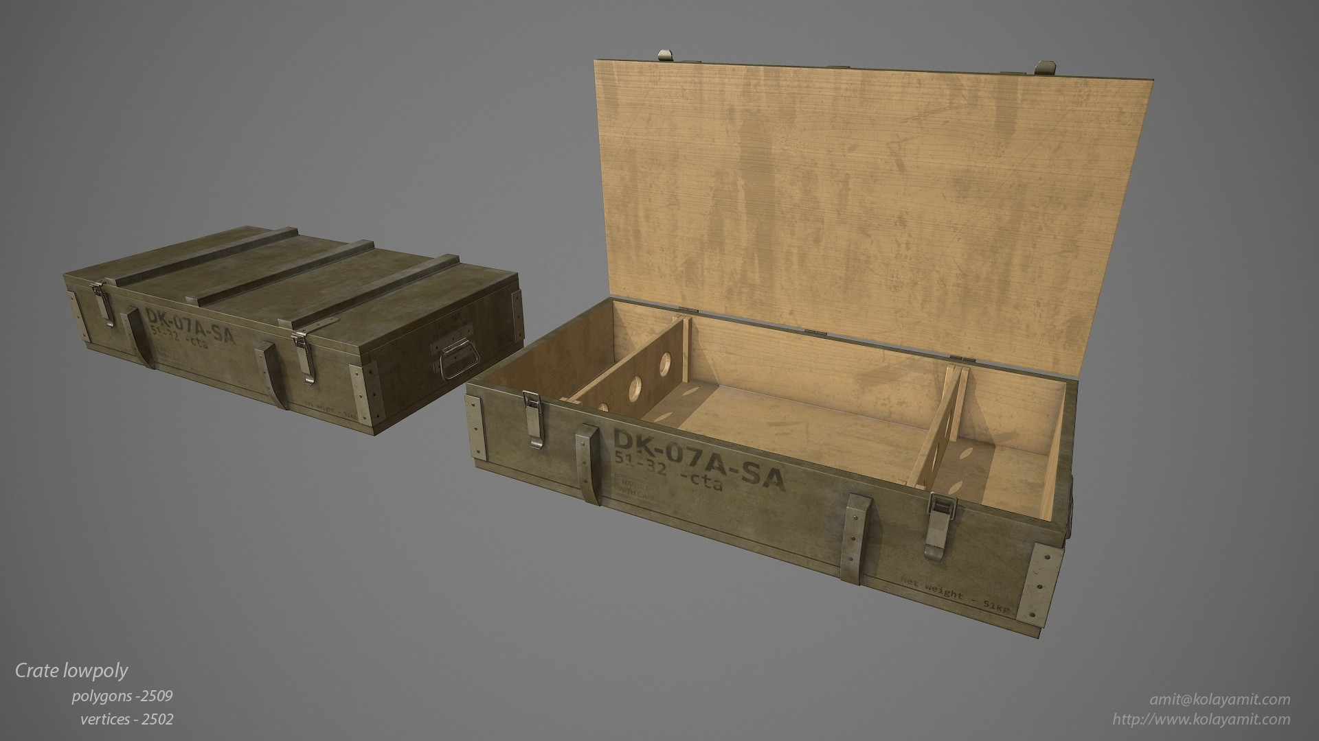 Crate Low Poly Game Ready PBR Asset