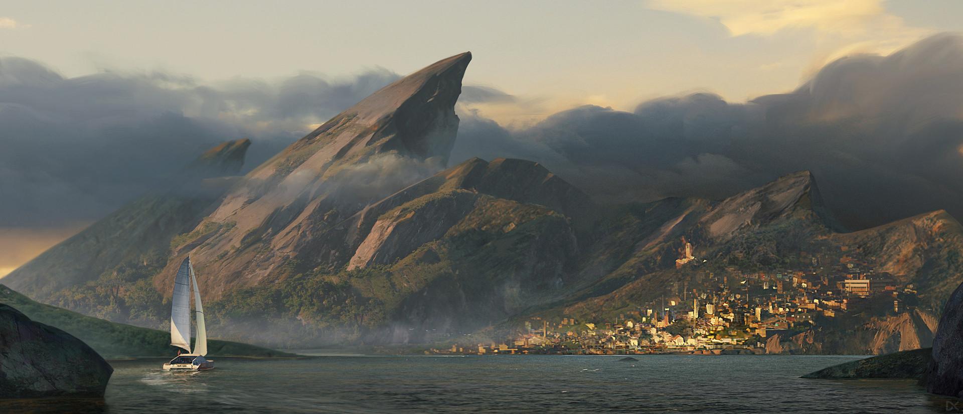 Darius kalinauskas coceptart environment island city boat 4k