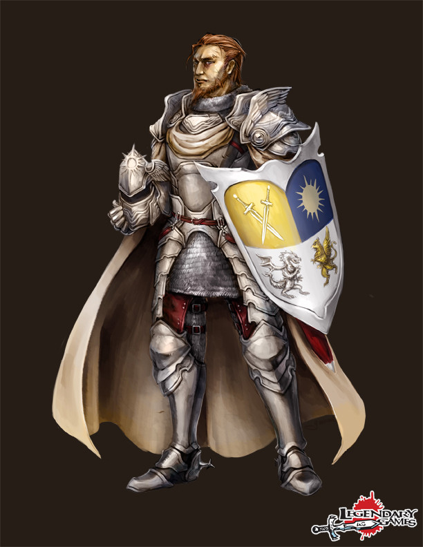 Caric Solnebren, human oathbound paladin of the Goddess of Valor