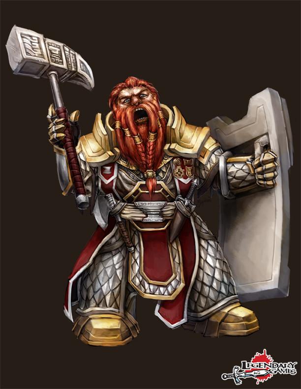 Norgrym Hammerfell, dwarf crusader cleric of the God of Strategy