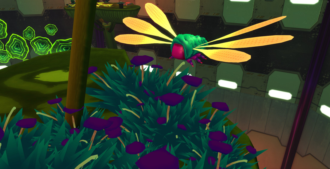 Screenshot of a moth and moss in the Atrium.