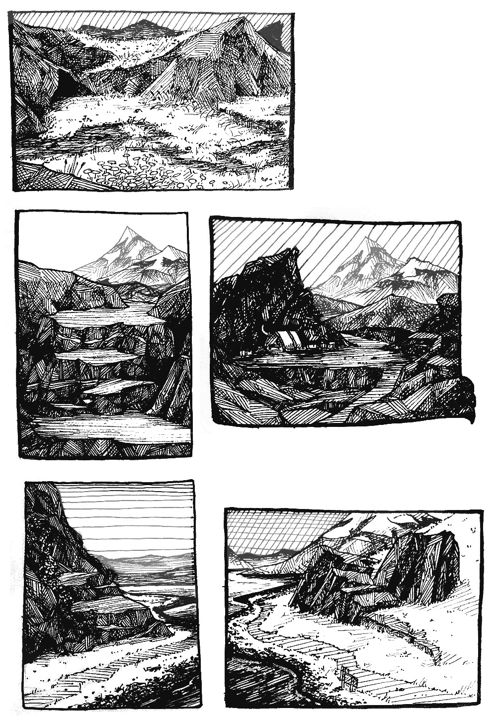 Sketches of a mountain trail from a dream I had.