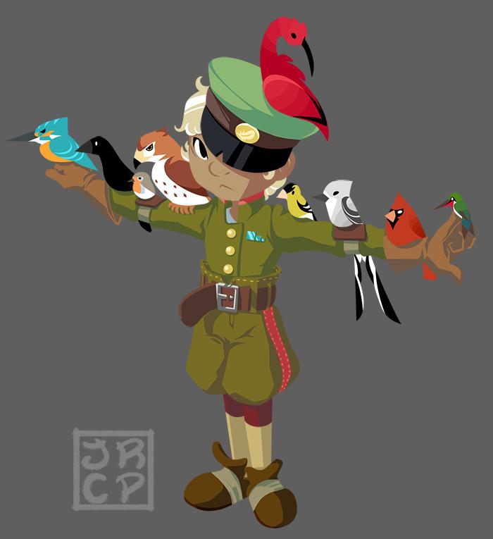 A boy and his birds.