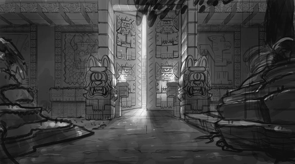 Sketch of the entrance to the Hewn-Stone Empire.