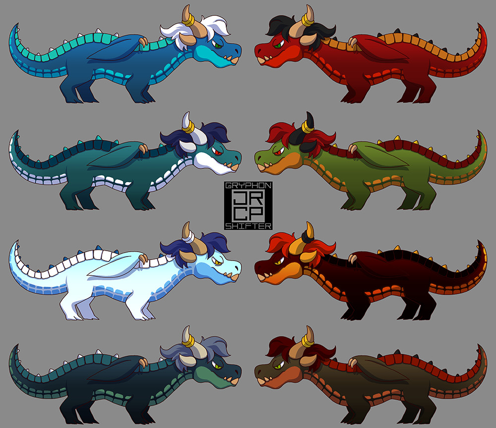 Ideas for ice and fire dragon color schemes.