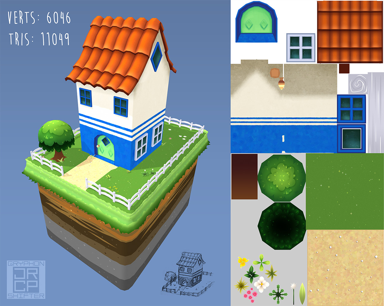 """3D house sketch--texture sheets may seem """"empty"""" because I left the possibility of adding more later."""