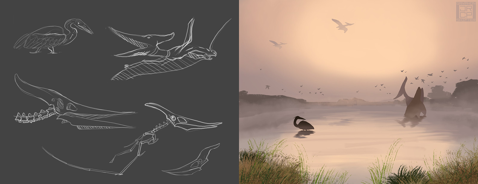 12: Pteranodon imagined in a modern-day setting.