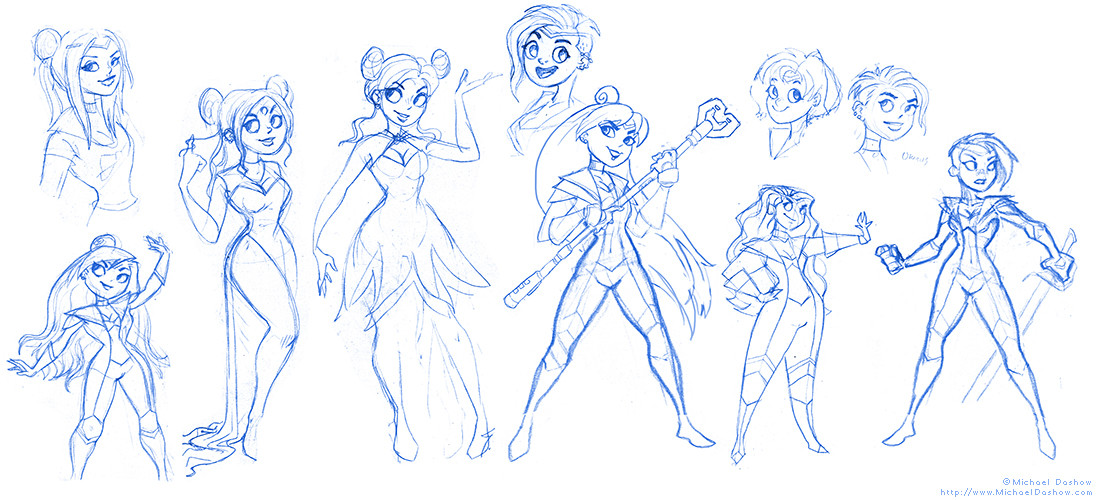 Michael dashow sailor moon 02 sketches 1100x500