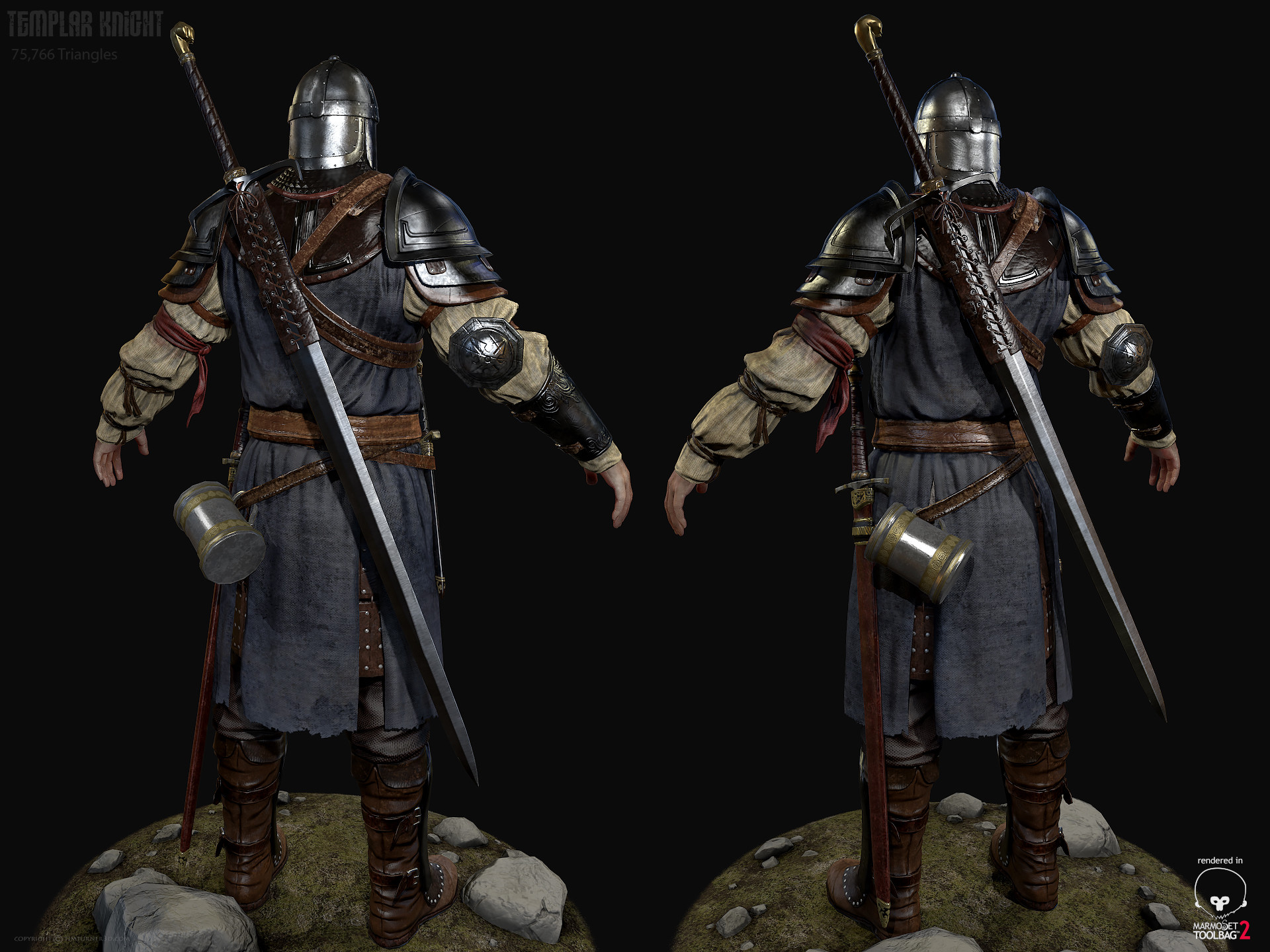 Tim turner 3d templar knight back view
