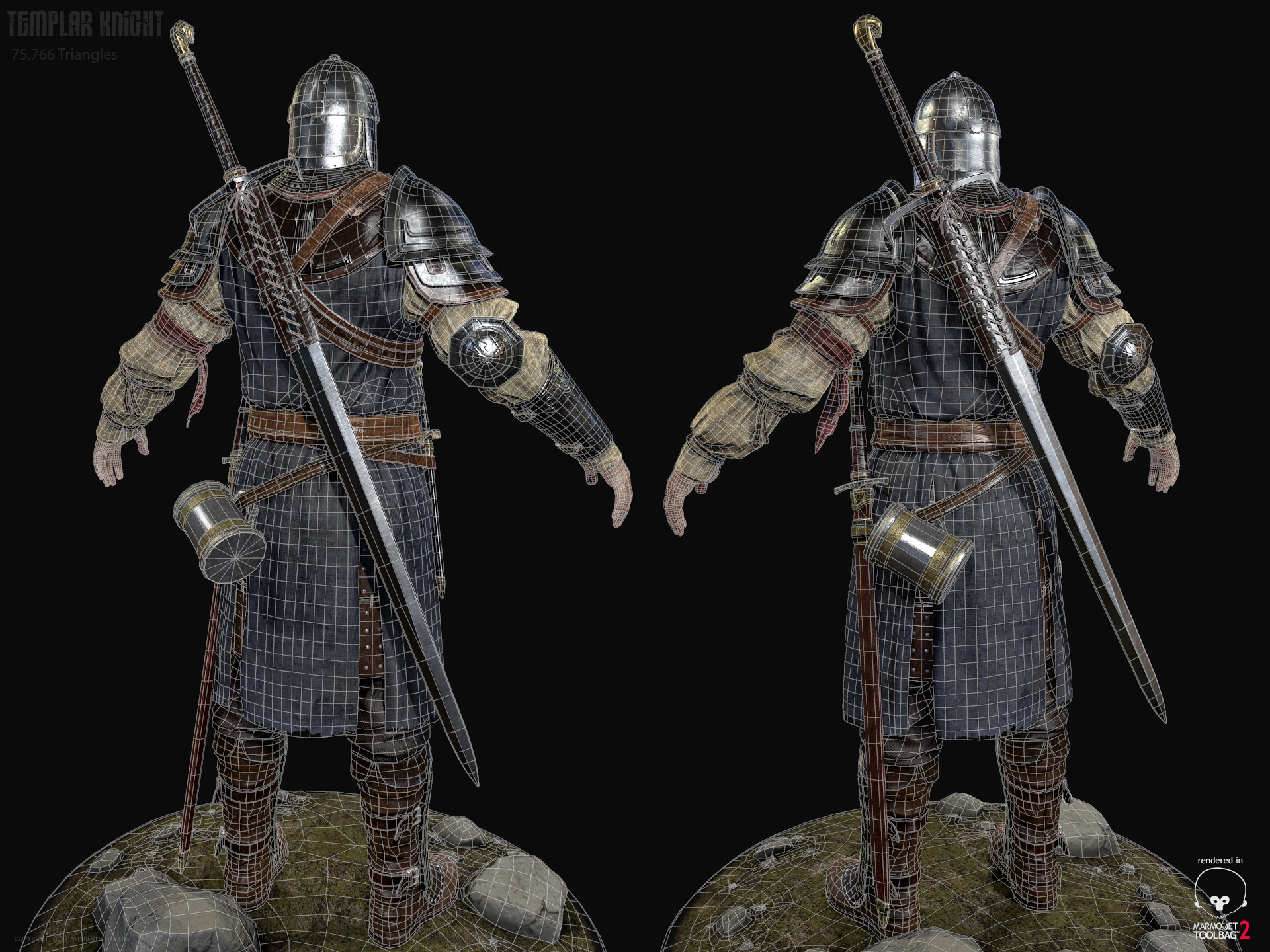 Tim turner 3d templar knight back view wireframe