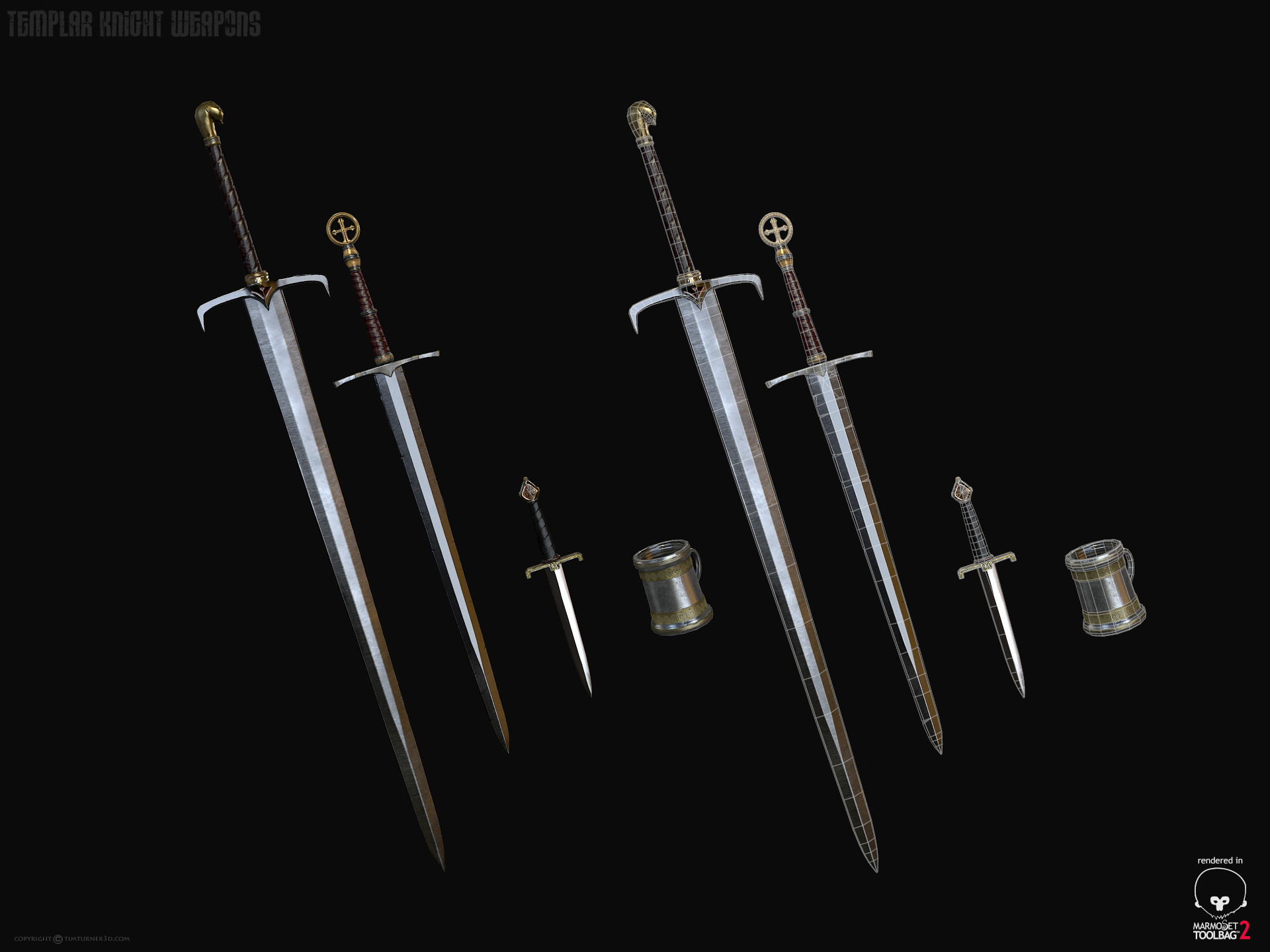 Tim turner 3d templar knight weapons