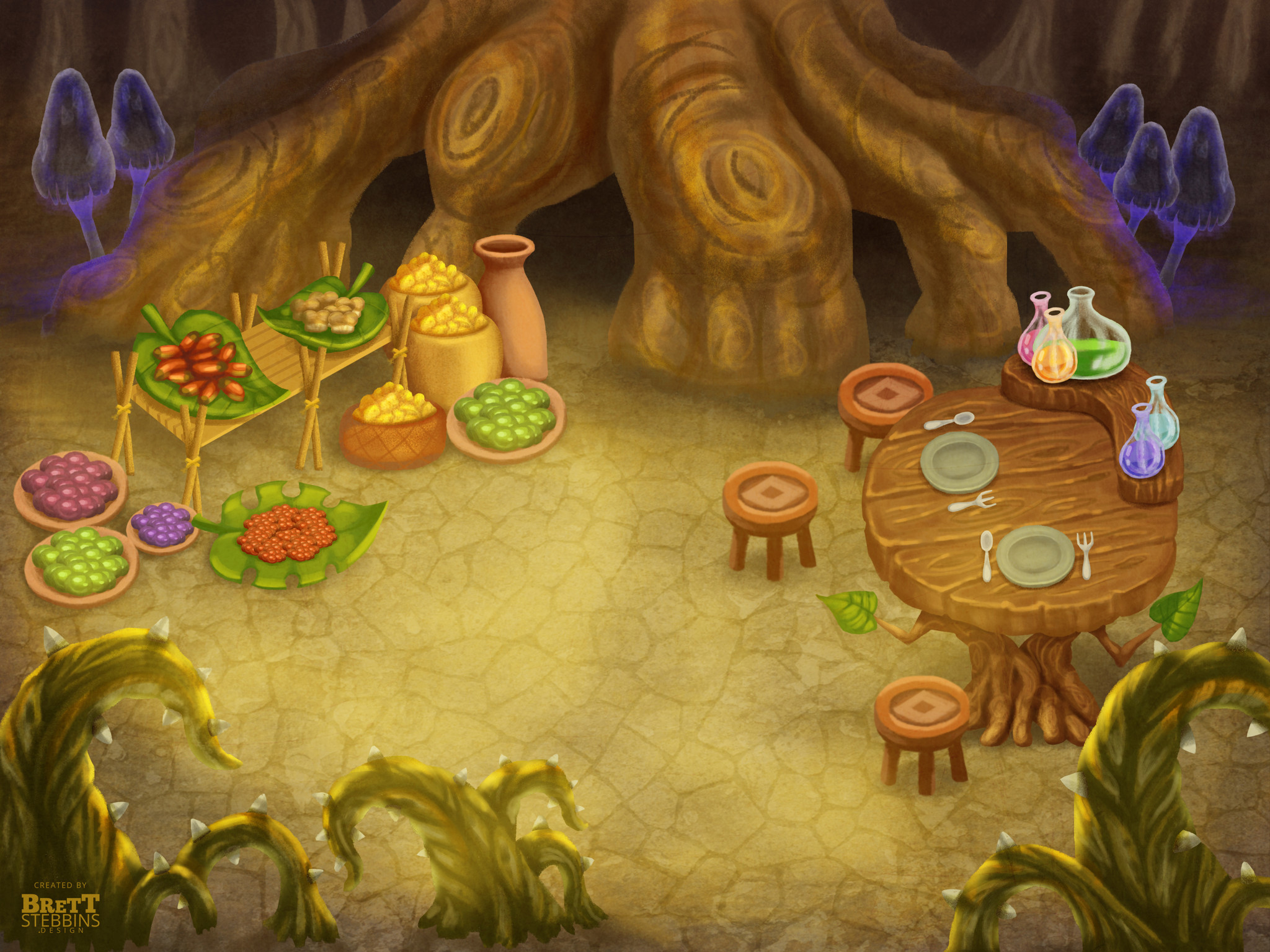 Final Concept Art - Common Eating Area and Marketplace