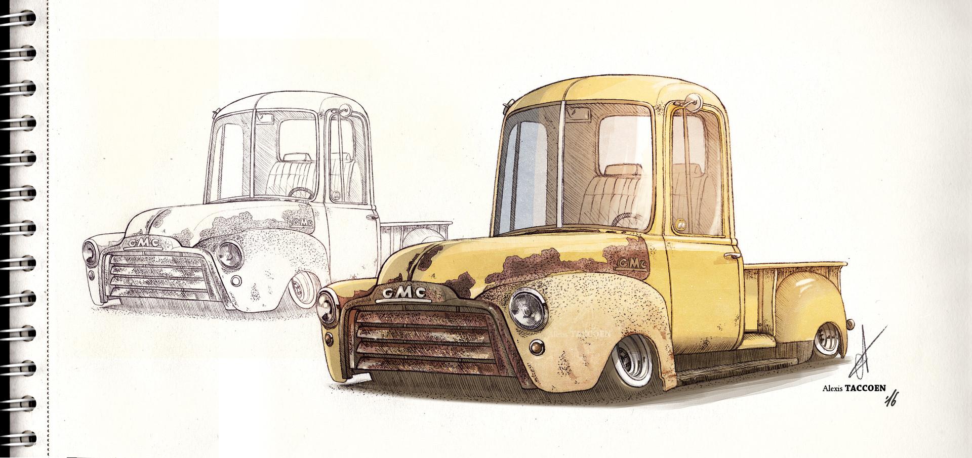 Alexis taccoen gmc pickup 53 sketch
