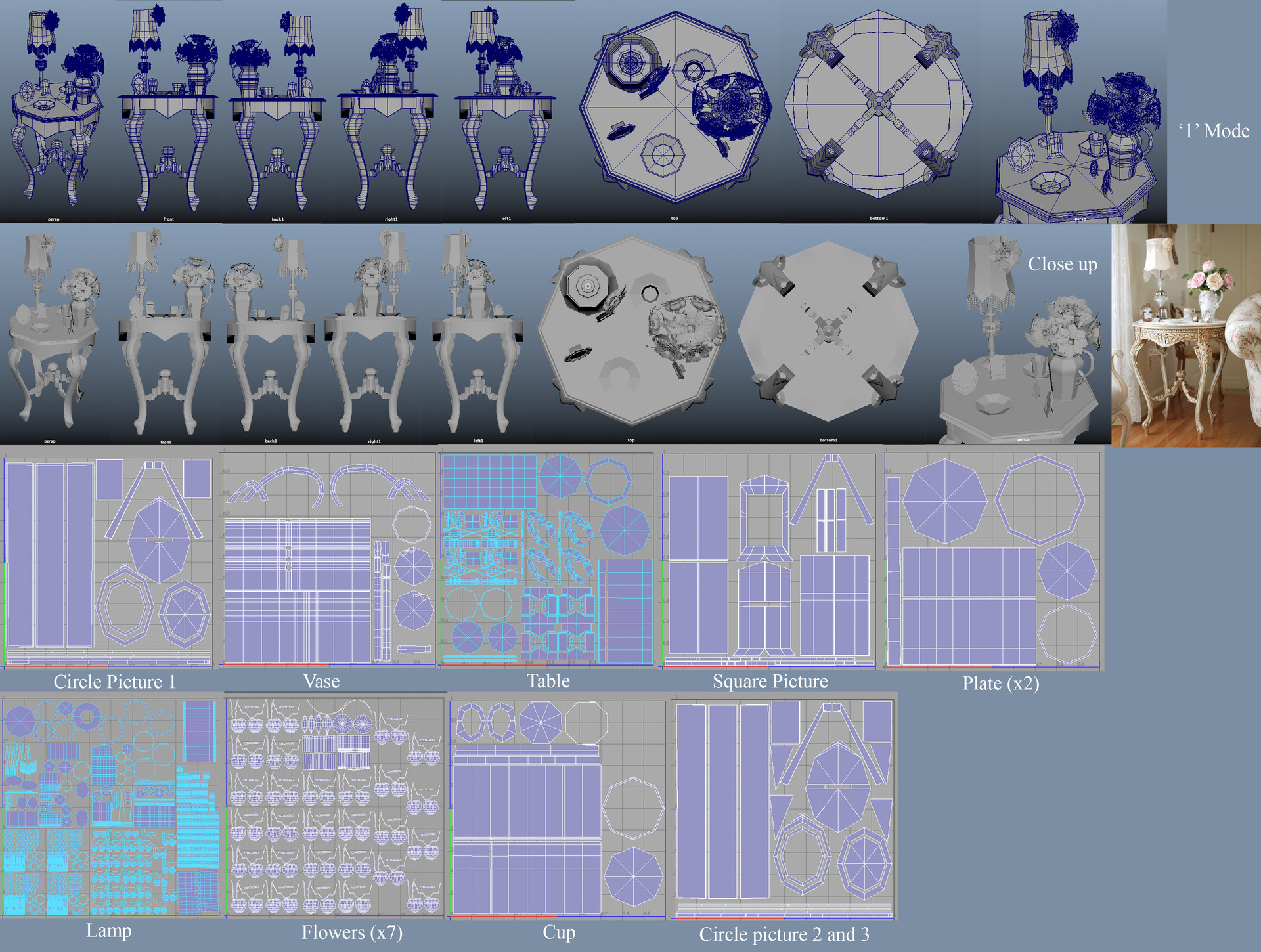 Top Left to Right: 3/4ths, Front, Back, Right, Left, Top, Bottom, Close up, Reference. Below is the UV Maps