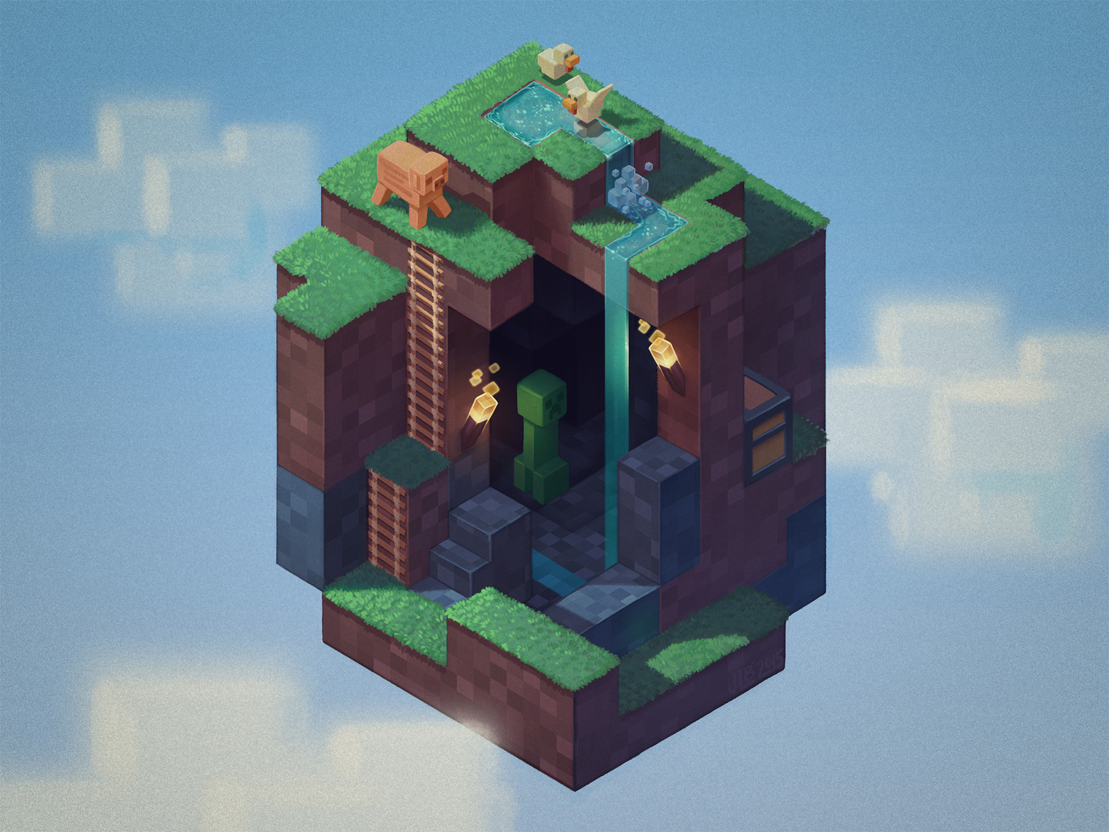 O as an isometric Minecraft world