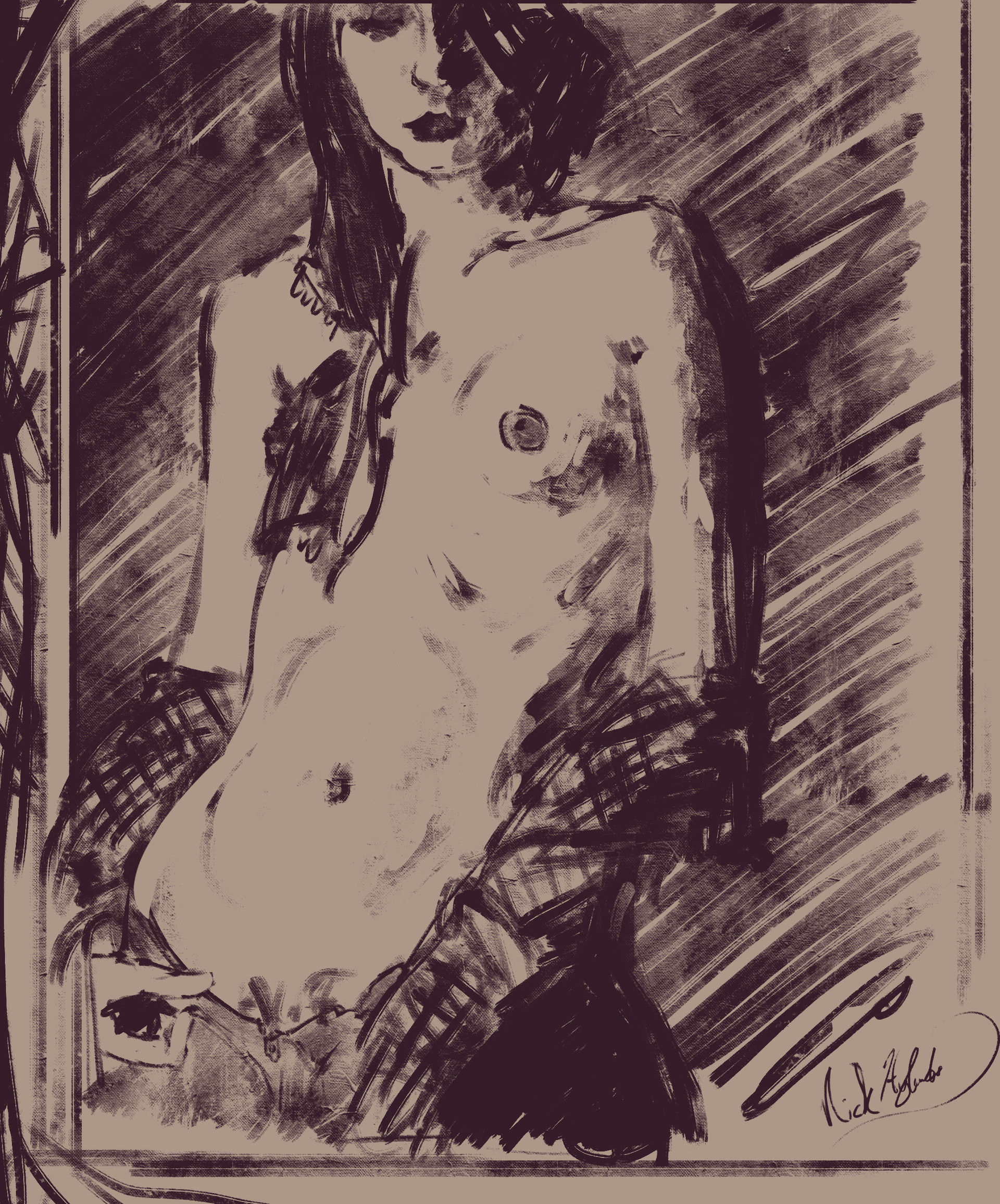 Nicholas hylands charcoal sketch