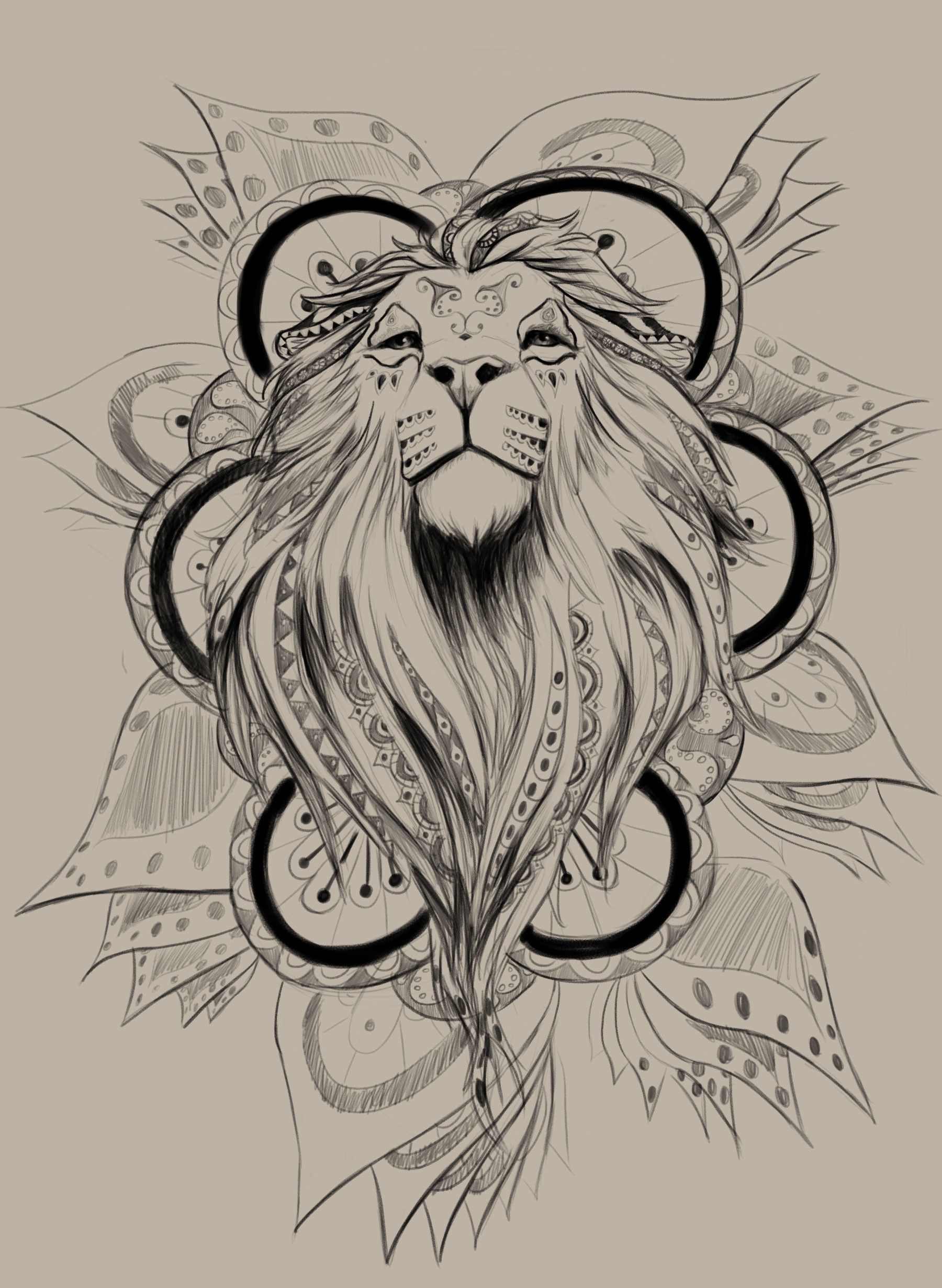 kwabena sarfo mandala lion tattoo wip. Black Bedroom Furniture Sets. Home Design Ideas