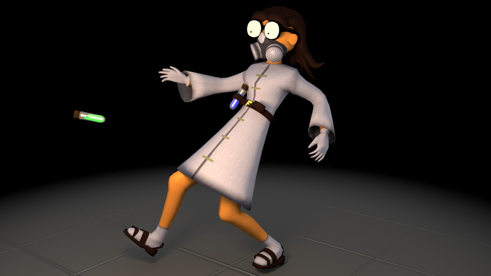 Dr Fusion dropping one of her vials. Could be toxic. She's not sure, but there's a risk.