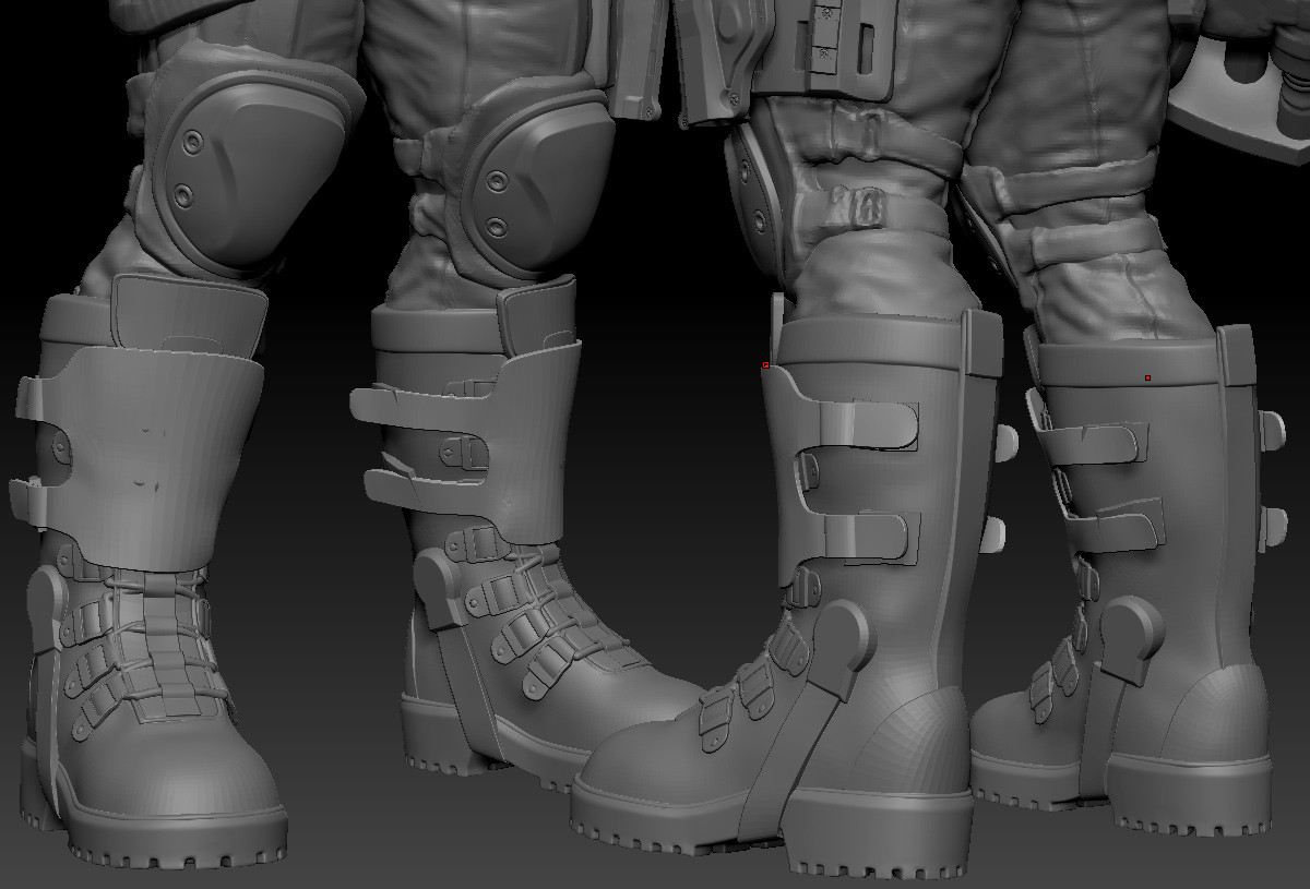 Took the boot blockout sculpt and rebuilt the major forms
