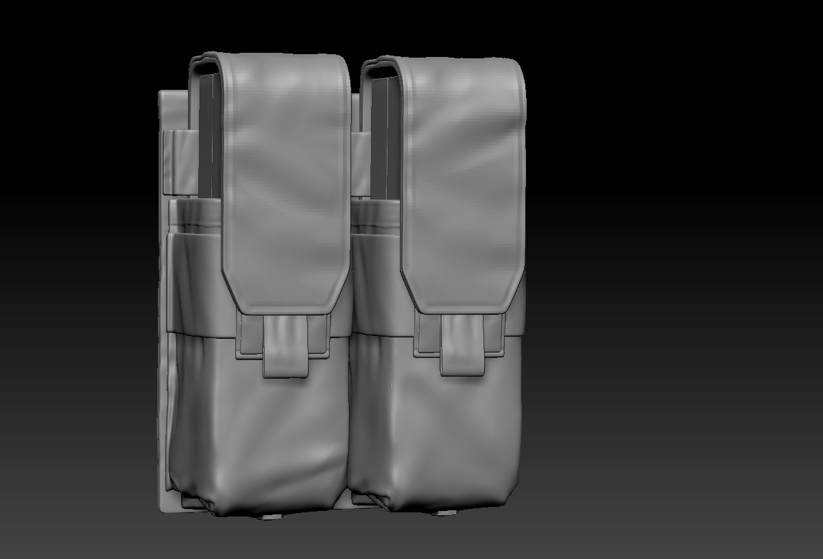 since he's no longer using m4 ammo, now he's got smaller pouches for his glock (I was lazy and basically just transposed them down a bit)