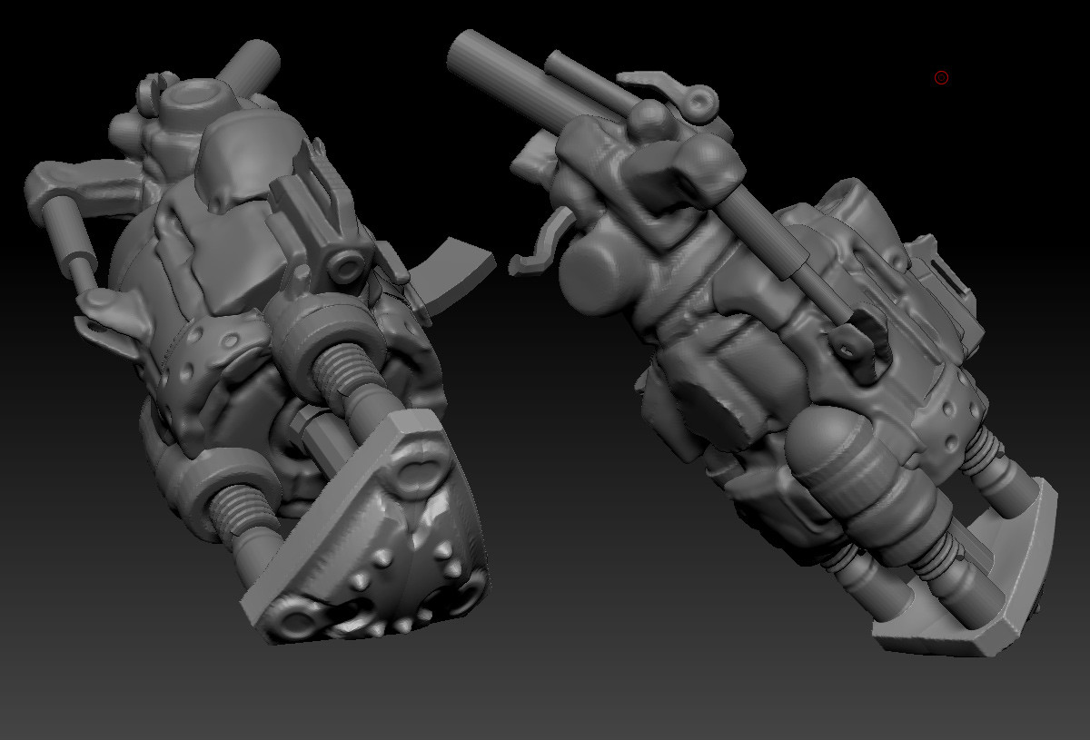 """After the weapon blockout was finished """"enough"""", I broke it out into its own file and centered it down the x axis for a little faster modeling"""