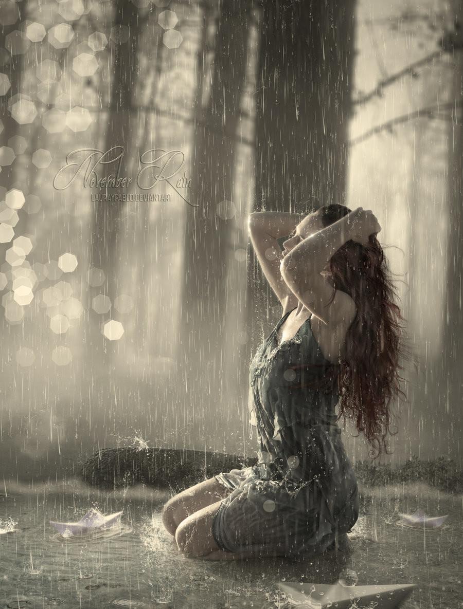Фото под дождем девушка грустные