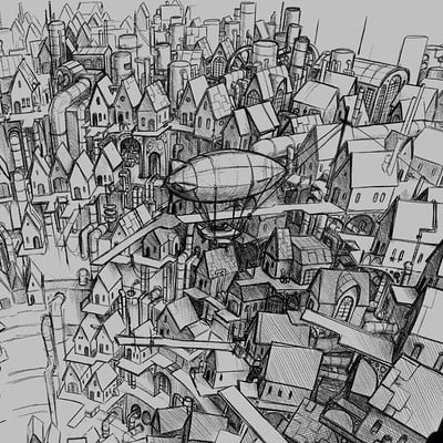 Steampunk City Sketch