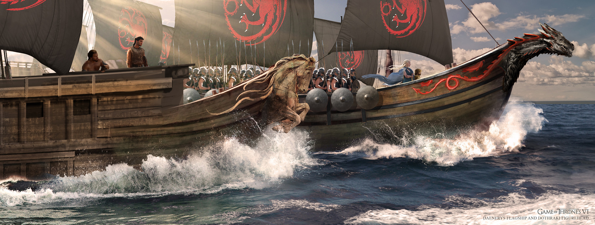 Side View of Dothraki and Dany's Flagship
