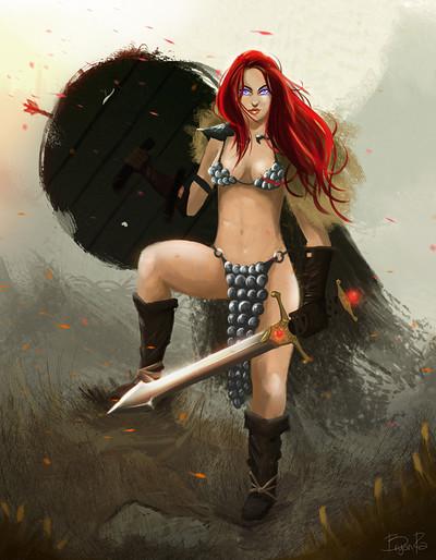 Bryan ramirez red sonja fan art by bryanramirez