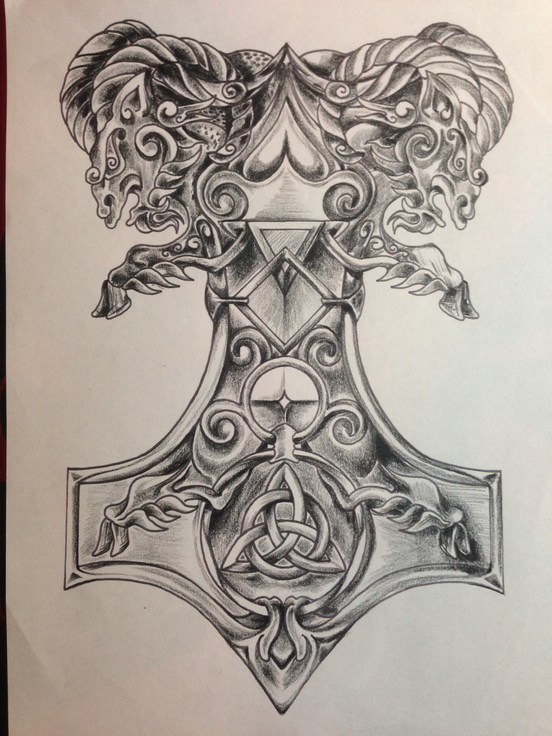 David Isaac Herman Viking And Celtic Half Sleeve Line Work And