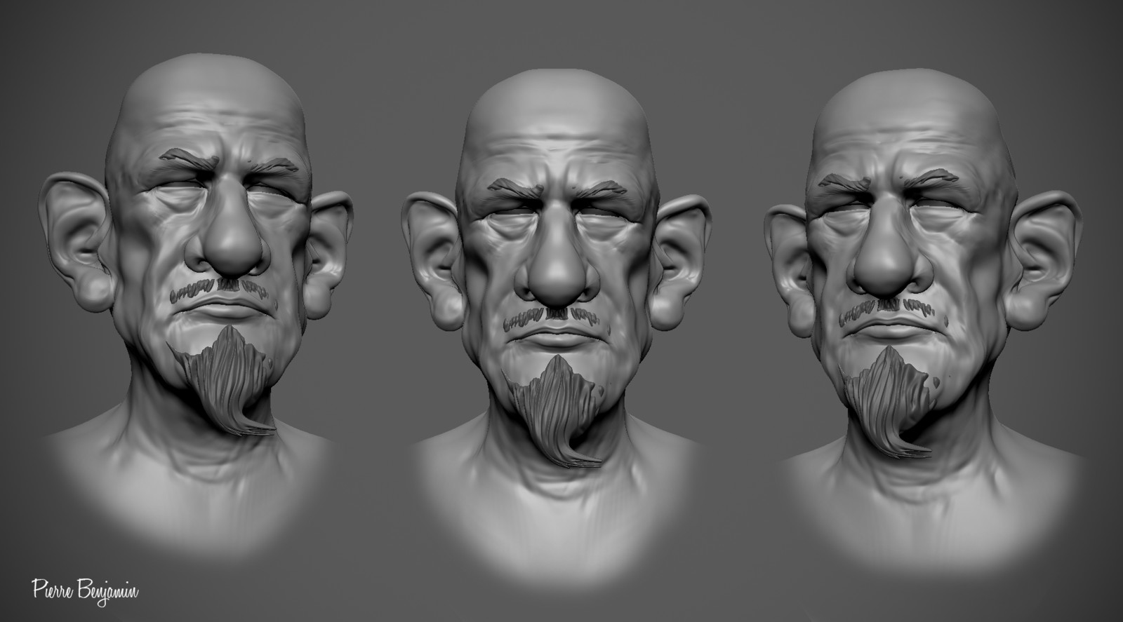 John steinbeck sculpt inspired by a caricature by C F Payne