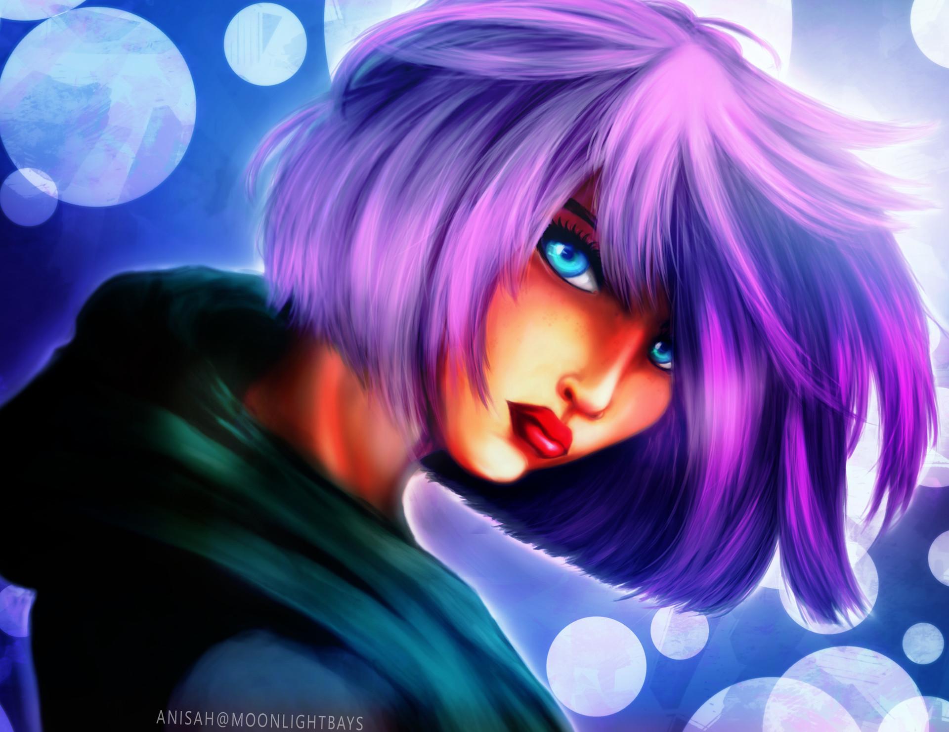 Purple Hair Green Hoodie
