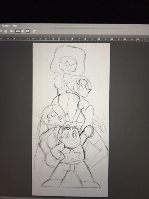 Rough sketch, I thought it would be a cool idea to have steven's hand up like (we are power! lol)