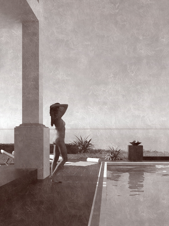 SketchUp + Thea Render  Seagrove Beach House: Poolside 05 2pt Vert 43 D Henry Silk 1080 × 1440 Presto MC Bucket